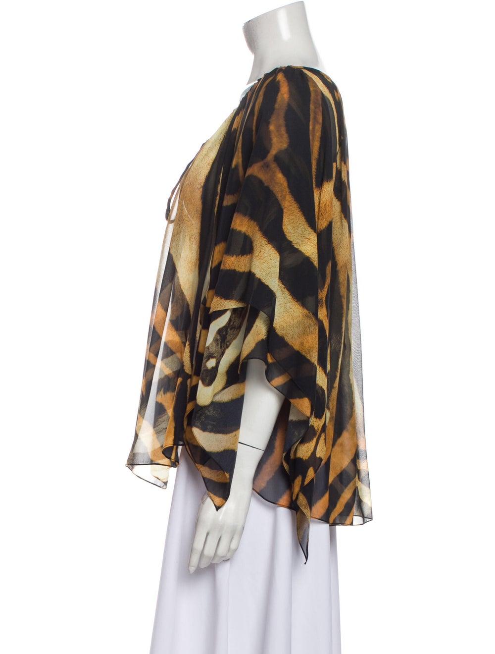 Plein Sud Silk Printed Blouse Orange - image 2