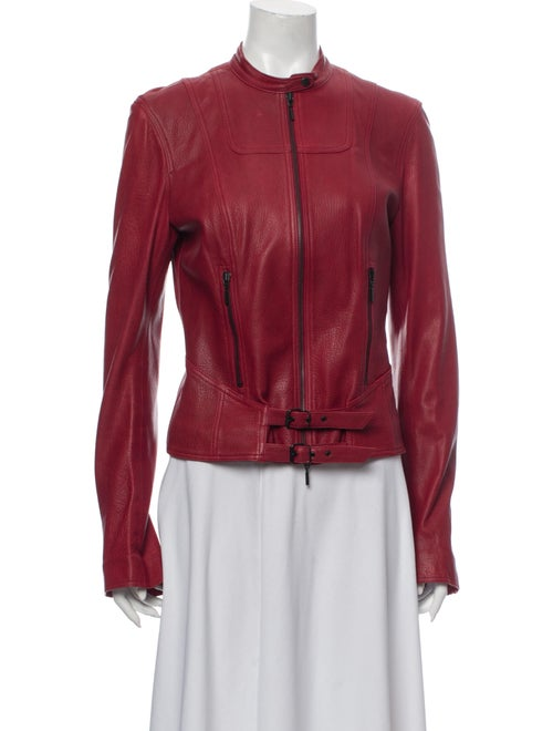 Plein Sud Lamb Leather Biker Jacket Red - image 1