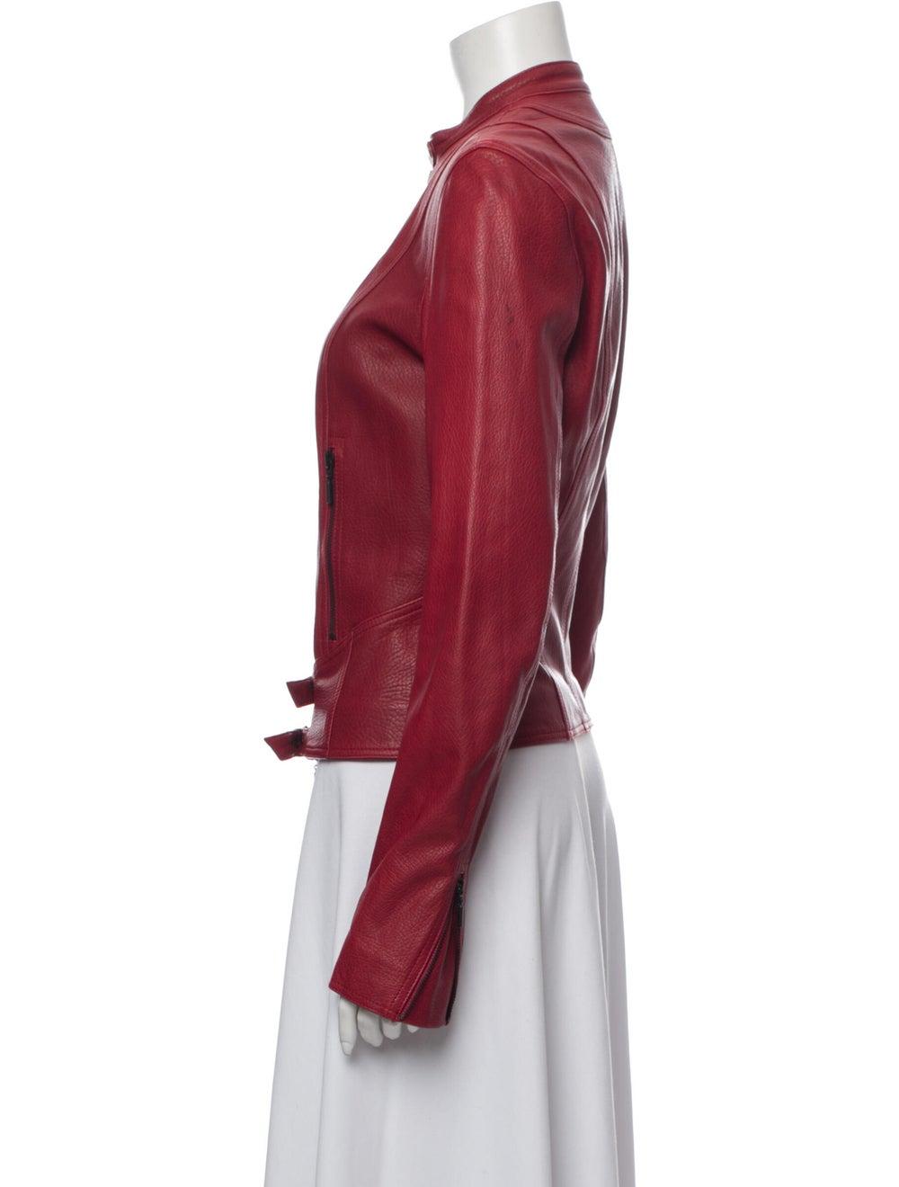 Plein Sud Lamb Leather Biker Jacket Red - image 2