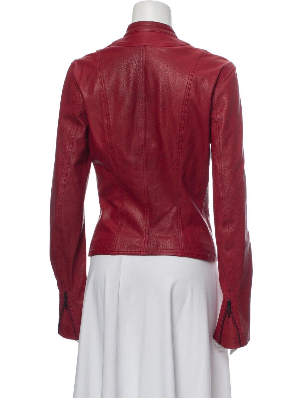 Plein Sud Lamb Leather Biker Jacket Red - image 3