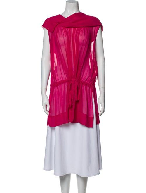 Plein Sud Silk Cowl Neck Tunic Pink - image 1