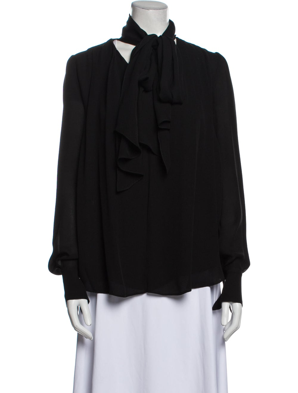 Plein Sud Silk Mock Neck Blouse Black - image 1