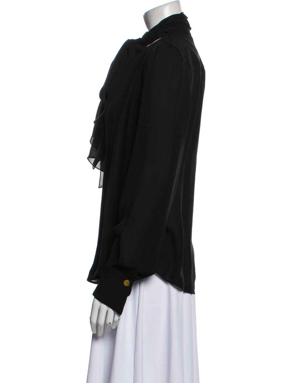 Plein Sud Silk Mock Neck Blouse Black - image 2