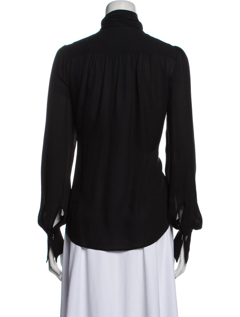 Plein Sud Silk Mock Neck Blouse Black - image 3