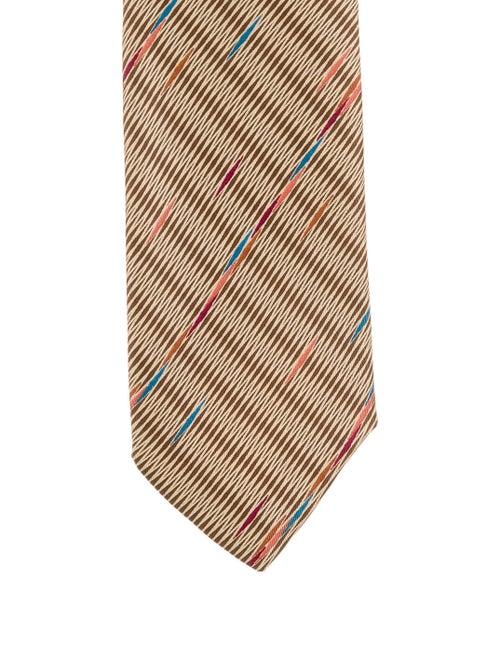 Paco Rabanne Printed Silk Tie tan