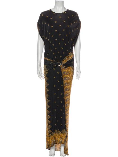 Paco Rabanne Printed Long Dress Black
