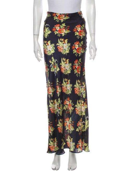 Paco Rabanne Floral Print Long Skirt Blue