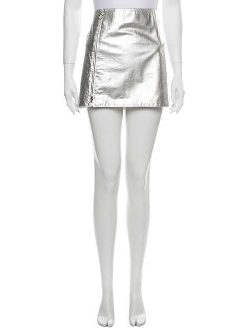 Paco Rabanne Lamb Leather Mini Skirt Silver