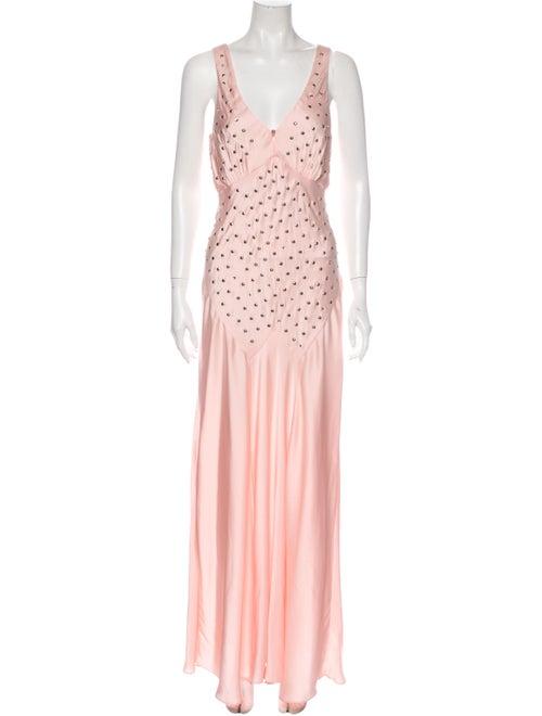 Paco Rabanne V-Neck Long Dress Pink