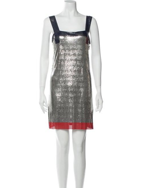 Paco Rabanne Square Neckline Mini Dress Silver