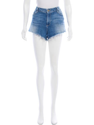 Paige Denim Distressed Denim Shorts None