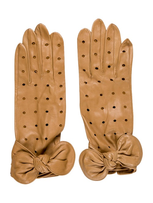 Perrin Leather Bow-Accented Gloves Tan