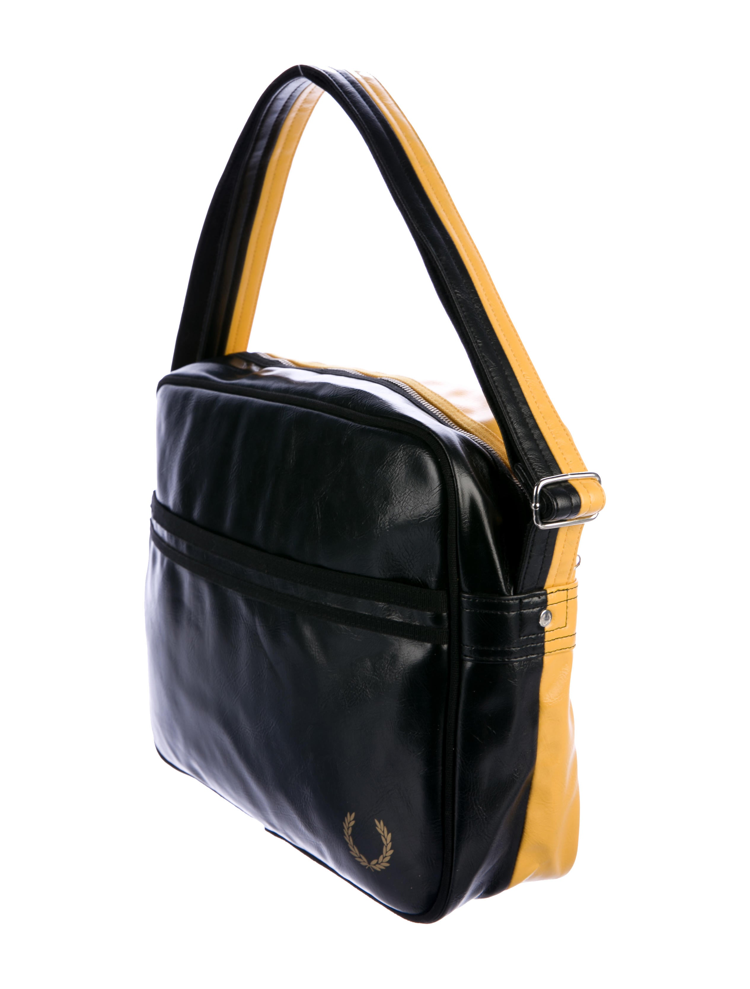 fred perry leather split messenger bags wperr20007 the realreal. Black Bedroom Furniture Sets. Home Design Ideas