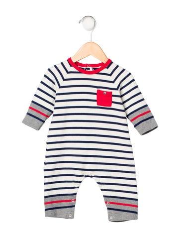 Petit Bateau Boys' Striped Rib Knit All-In-One None
