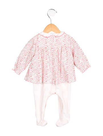 Petit Bateau Girls' Velvet Floral Print All-In-One w/ Tags None
