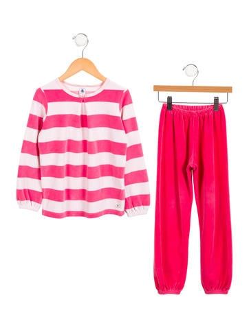 Petit Bateau Girls' Striped Velour Pant Set None