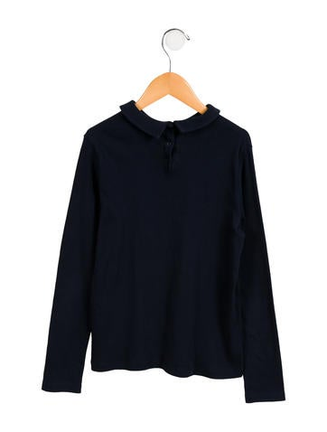 Girls' Peter Pan Collar Logo Top