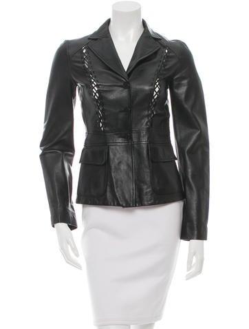 Philosophy di Alberta Ferretti Leather Notch-Lapel Jacket None