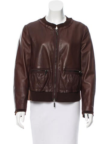 Philosophy di Alberta Ferretti Leather Crew Neck Jacket None