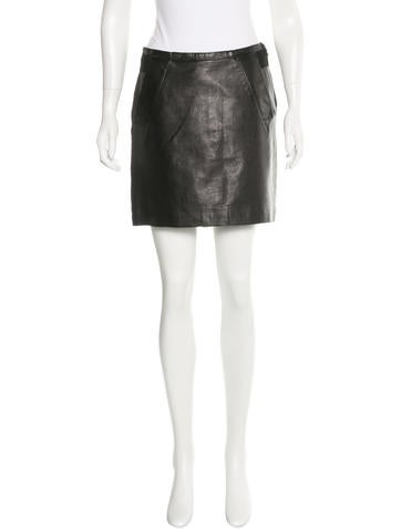 Philosophy di Alberta Ferretti Leather Bow-Accented Skirt