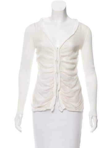Philosophy di Alberta Ferretti Silk-Paneled Rib Knit Cardigan None