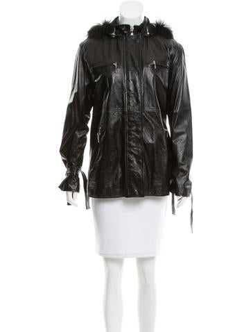 Philosophy di Alberta Ferretti Fur-Trimmed Leather Jacket None