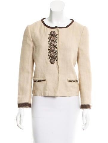 Philosophy di Alberta Ferretti Embellished Linen Jacket None