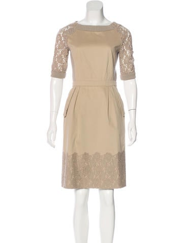 Philosophy di Alberta Ferretti Lace-Trimmed Sheath Dress None