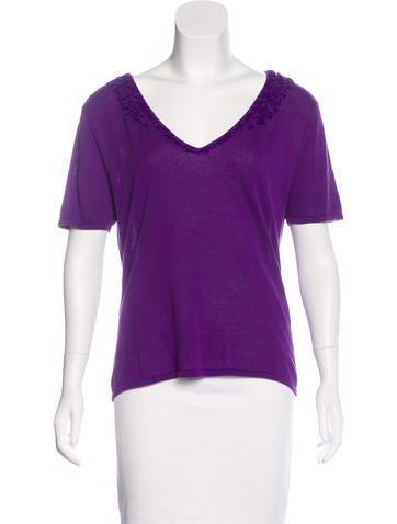 Philosophy di Alberta Ferretti Embellished Short Sleeve Top None