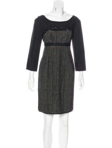 Philosophy di Alberta Ferretti Virgin Wool Embellished Dress None