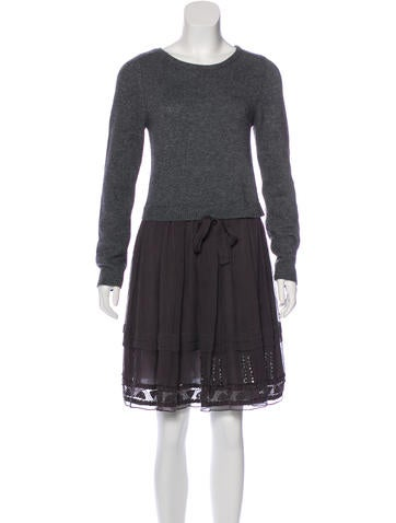 Philosophy di Alberta Ferretti Knit Silk-Accented Dress None