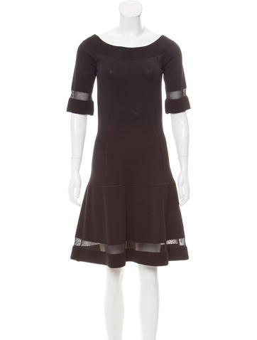 Philosophy di Alberta Ferretti Sheer-Trimmed Knee-Length Dress None