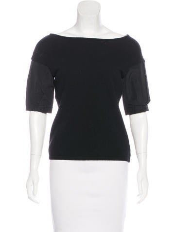 Philosophy di Alberta Ferretti Wool-Blend Short Sleeve Sweater None