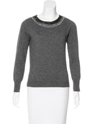 Philosophy di Alberta Ferretti Embellished Wool-Blend Sweater None