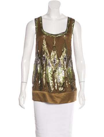 Philosophy di Alberta Ferretti Embellished Silk Top None