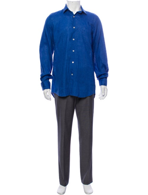 Piattelli Linen Button-Up Shirt blue - image 1