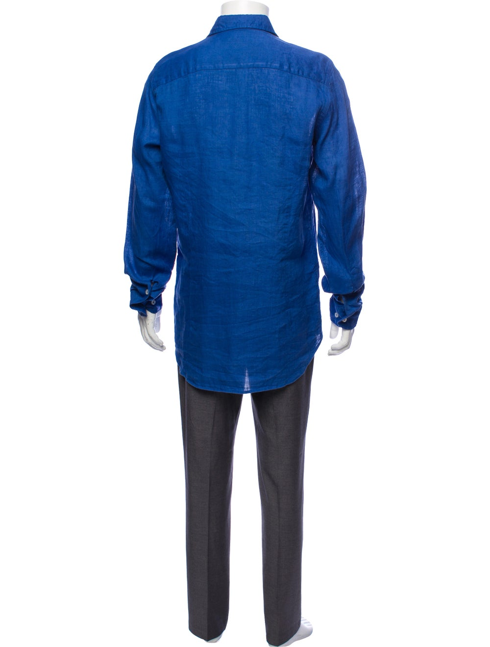 Piattelli Linen Button-Up Shirt blue - image 3