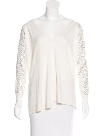 Pinko Tag Sequined Rib Knit Sweater None