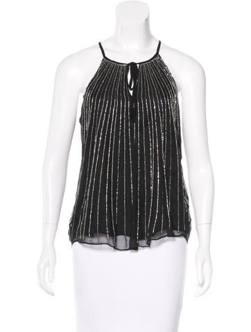 Parker Silk Embellished Top None