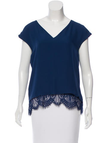 Parker Silk Lace-Trimmed Top None