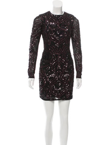 Parker Long Sleeve Sequined-Embellished Dress