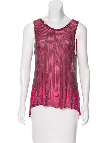 Parker Silk Embellished Top None