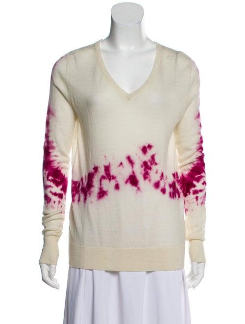 Parker Tie-Dye Print V-Neck Sweater Pink