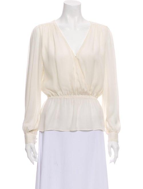 Parker Silk V-Neck Blouse White