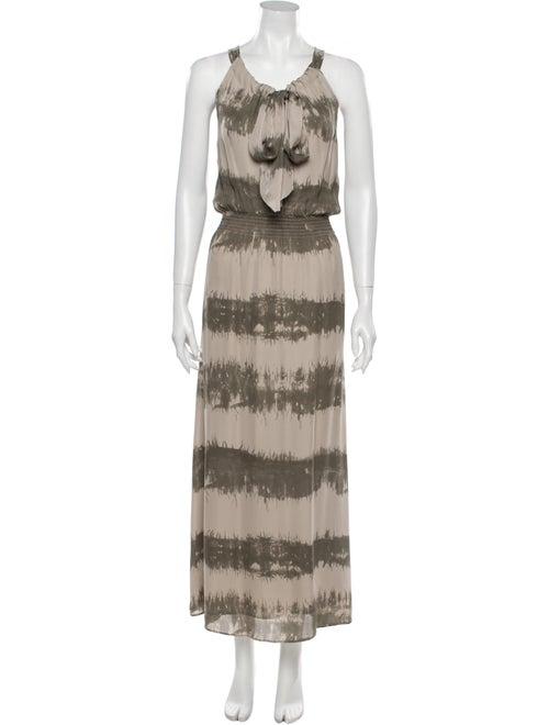 Parker Tie-Dye Print Long Dress Green