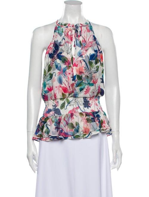Parker Silk Floral Print Blouse White
