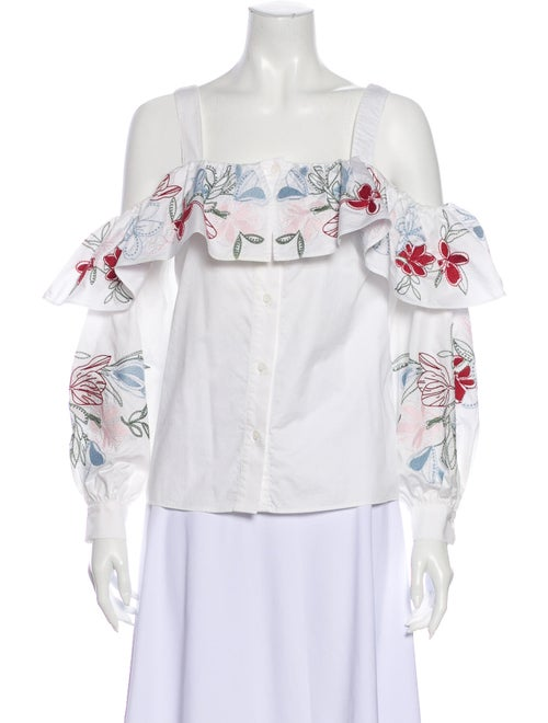 Parker Square Neckline Long Sleeve Button-Up Top W