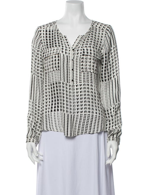 Parker Silk Printed Blouse White