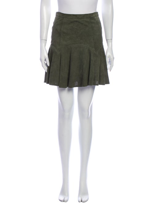 Parker Leather Mini Skirt Green