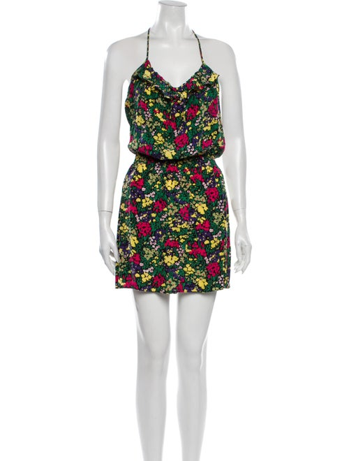 Parker Floral Print Mini Dress Green
